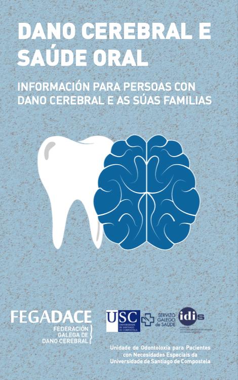Portada do Tríptico Dano Cerebral e Saúde Oral para persoas con dano cerebral e as súas familias