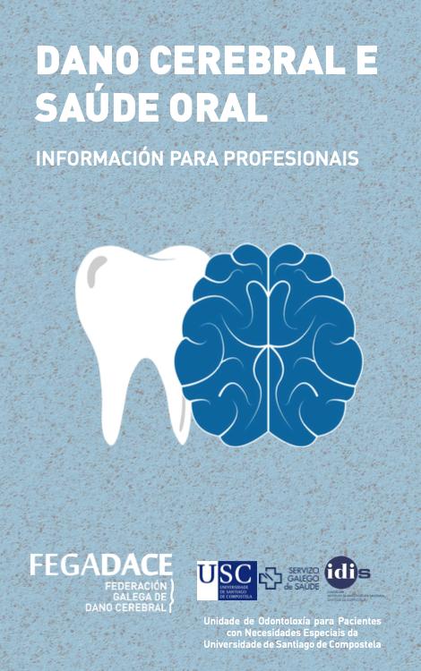 Portada do Tríptico Dano Cerebral e Saúde Oral para profesionais