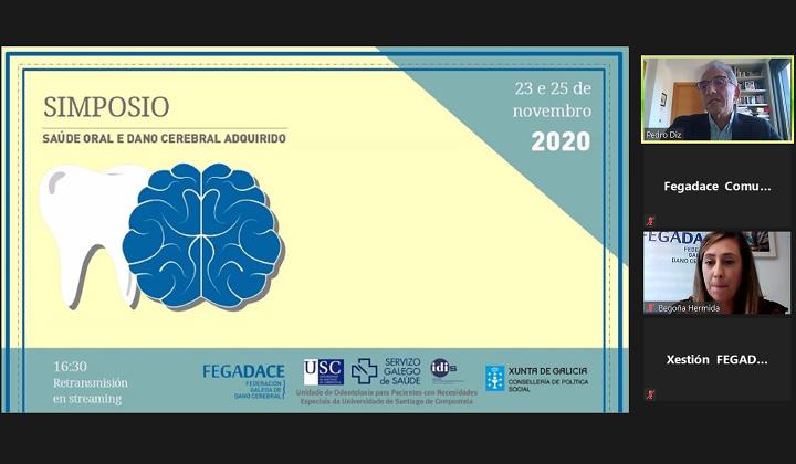 Captura de pantalla dunha das sesións do Simposio sobre Daño Cerebral y salud oral 2020